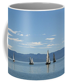 Sailboats In Blue Coffee Mug