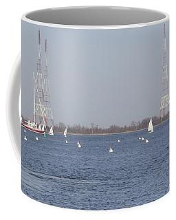 Sailboats With Chesapeake Bay Bridge Beyond Coffee Mug by Christina Verdgeline