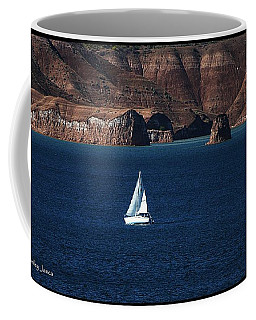 Sailing At Roosevelt Lake On The Blue Water Coffee Mug by Tom Janca
