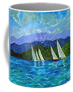 Coffee Mug featuring the painting Sailing by Laura Forde
