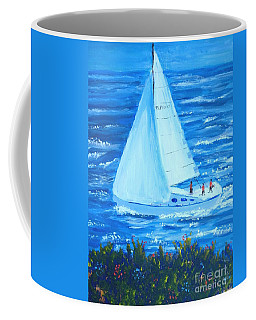 Sailing Off The Coast Coffee Mug