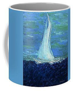 Sailing On The Blue Coffee Mug by Dick Bourgault