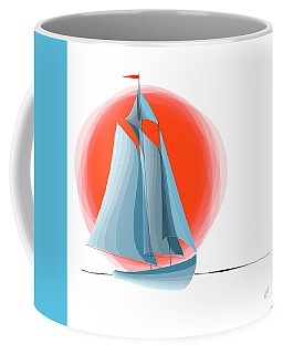 Sailing Red Sun Coffee Mug