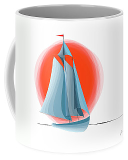 Sailing Red Sun Coffee Mug by Ben and Raisa Gertsberg