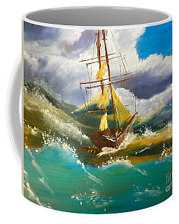 Coffee Mug featuring the painting Sailing Ship In A Storm by Pamela  Meredith
