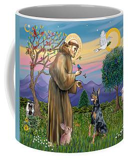 Saint Francis And Doberman Pinscher Coffee Mug