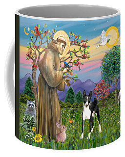 Saint Francis Blesses A Black And White Basenji Coffee Mug