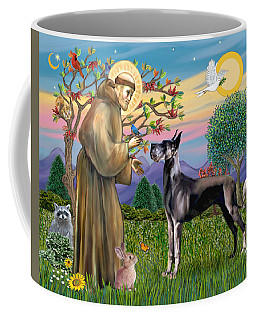 Saint Francis Blesses A Black Great Dane Coffee Mug