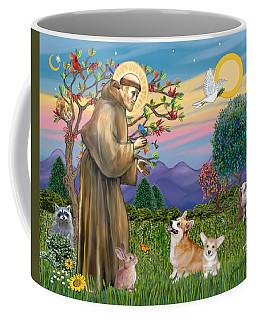 Saint Francis Blesses A Corgi And Her Pup Coffee Mug