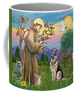 Saint Francis Blesses A German Shepherd Coffee Mug