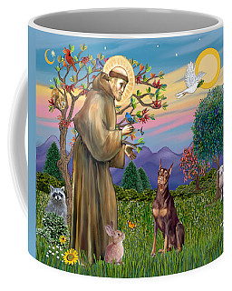 Saint Francis Blesses A Red Doberman Coffee Mug