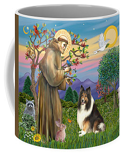 Saint Francis Blesses A Sable And White Collie Coffee Mug