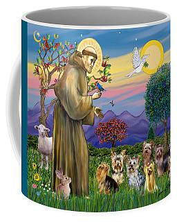 Saint Francis Blesses Seven Yorkies Coffee Mug