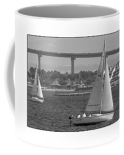 Coffee Mug featuring the digital art San Diego Bay Sailing 1 by Kirt Tisdale