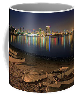 Coffee Mug featuring the photograph San Diego Harbor Lights by Gary Holmes