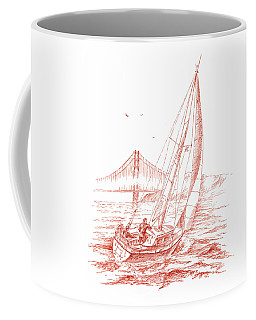 San Francisco Bay Sailing To Golden Gate Bridge Coffee Mug
