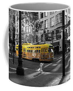 San Francisco Vintage Streetcar On Market Street - 5d19798 - Black And White And Yellow Coffee Mug