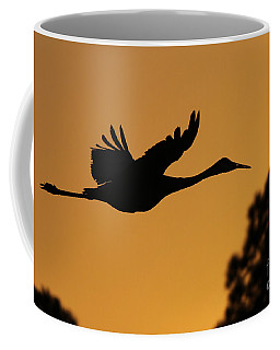 Sandhill Crane In Flight Coffee Mug