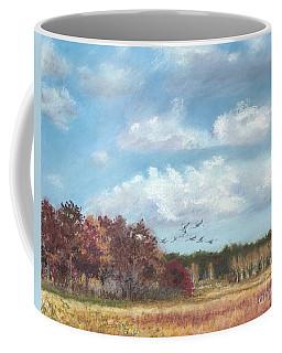 Sandhill Cranes At Crex With Birch  Coffee Mug