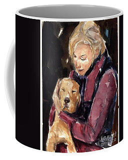Coffee Mug featuring the painting Sandy Grace And Me by Molly Poole