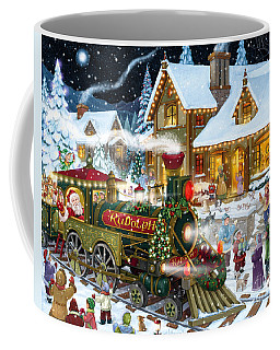 Santa Arrives In Rudolph Train Coffee Mug
