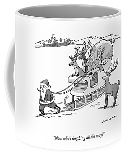 Santa Claus Pulls A Sleigh Full Of Reindeer Coffee Mug