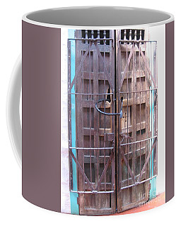 Coffee Mug featuring the photograph Santa Fe Old Door by Dora Sofia Caputo Photographic Art and Design
