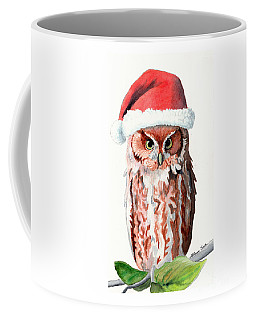 Santa Owl Coffee Mug by LeAnne Sowa