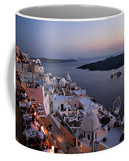 Santorini At Dusk Coffee Mug by David Smith