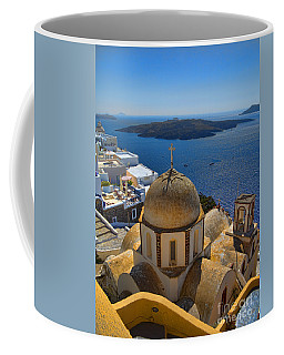 Santorini Caldera With Church And Thira Village Coffee Mug by David Smith