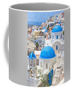 Santorini Oil Painting Coffee Mug