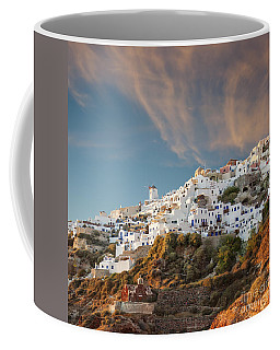 Santorini Windmill At Dusk Coffee Mug