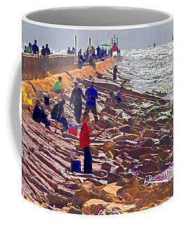 Coffee Mug featuring the photograph Saturday Morning On The Surfside Jetty by Gary Holmes