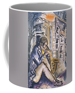 Sax Player, 1998 Wc On Paper Coffee Mug
