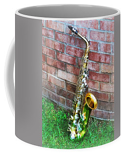Saxophone Against Brick Coffee Mug