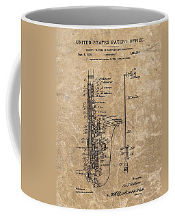 Saxophone Patent Design Illustration Coffee Mug