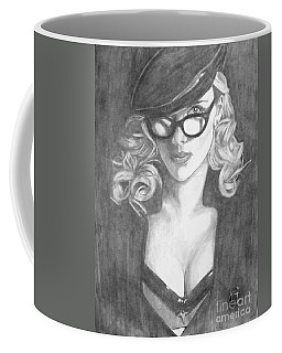 Coffee Mug featuring the drawing Scarlett Johansson by Justin Moore