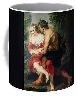 Scene Of Love Or, The Gallant Conversation Oil On Canvas Coffee Mug