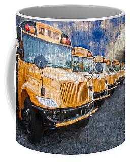 School Bus Lot Painterly Coffee Mug
