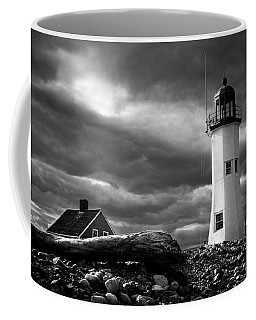 Coffee Mug featuring the photograph Scituate Lighthouse Under A Stormy Sky by Jeff Folger