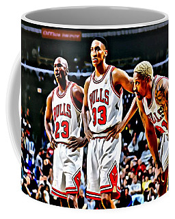 Scottie Pippen With Michael Jordan And Dennis Rodman Coffee Mug