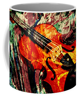 Coffee Mug featuring the mixed media Scribbled Fiddle by Ally  White