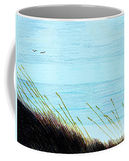 Coffee Mug featuring the drawing Sea Oats In The Wind Drawing by D Hackett