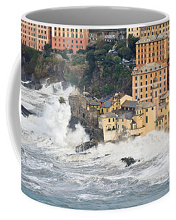 Coffee Mug featuring the photograph Sea Storm In Camogli - Italy by Antonio Scarpi