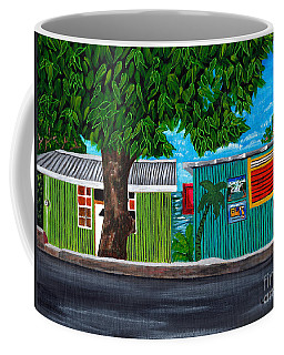 Coffee Mug featuring the painting Sea-view Cafe by Laura Forde