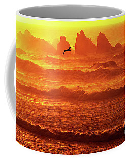 Coffee Mug featuring the photograph Seagull Soaring Over The Surf At Sunset Oregon Coast by Dave Welling