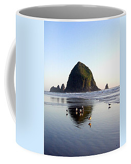 Seagulls And A Surfer Coffee Mug