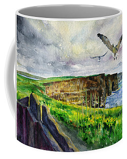 Seagulls At The Cliffs Of Moher Coffee Mug by John D Benson