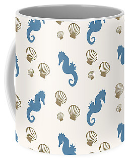 Seahorse And Shells Pattern Coffee Mug