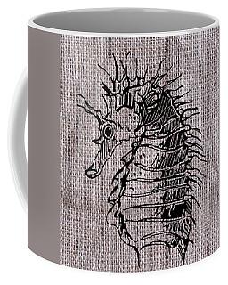 Seahorse On Burlap Coffee Mug